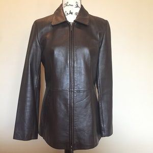 Brown Nine West Leather Zipper Jacket